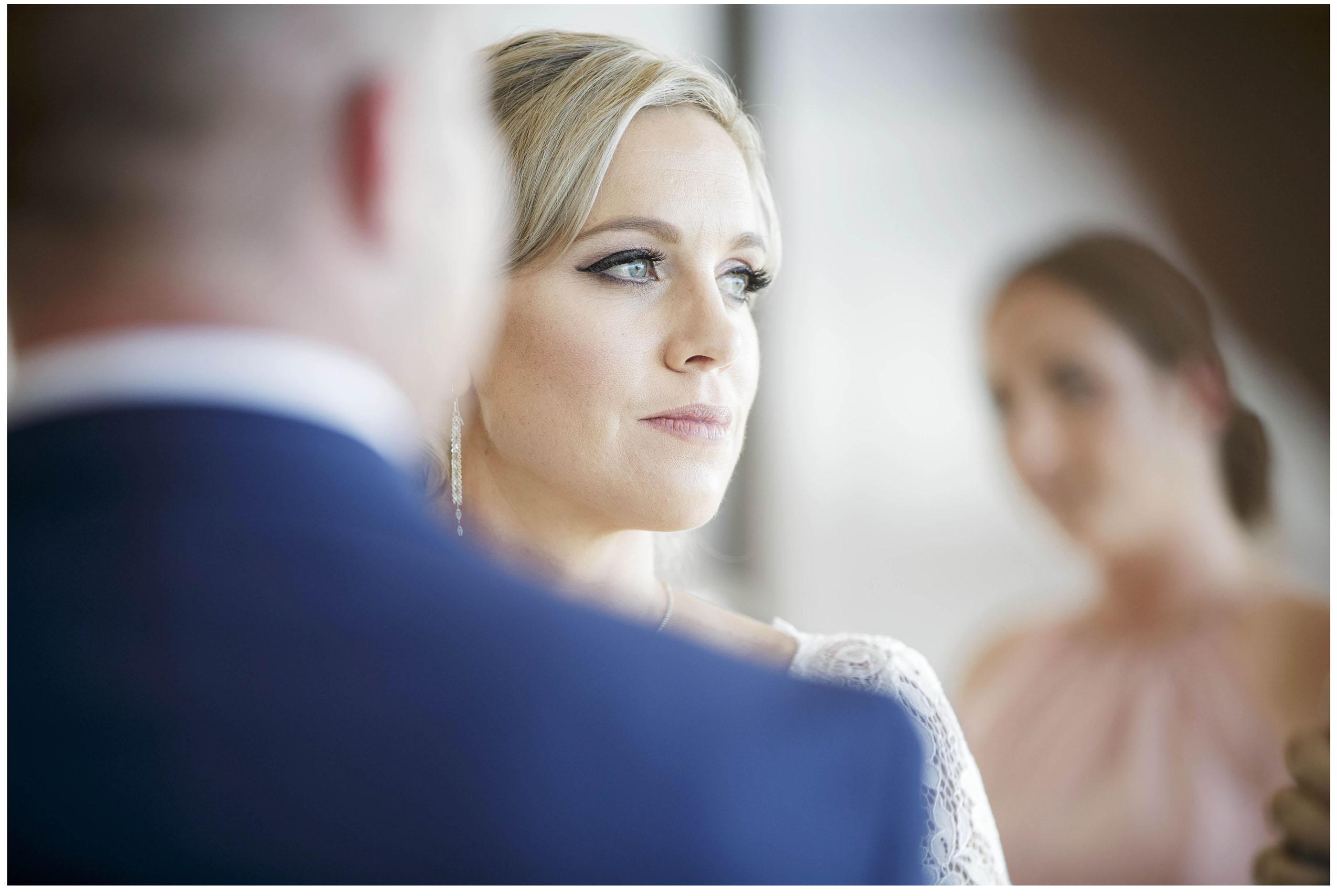 Emotional bride at wedding ceremony , Five Knotts wedding venue Auckland, Auckland wedding photographers